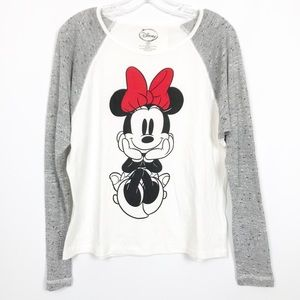 NWT Minnie Mouse Baseball Long Sleeve Top